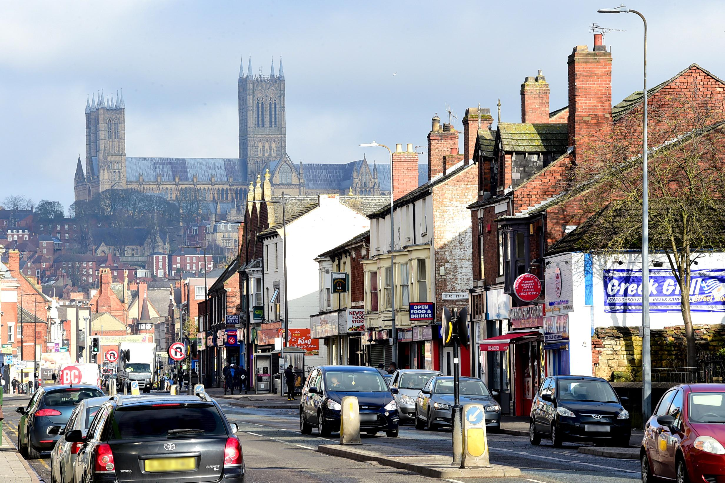 Lincoln High Street facing the cathedral in the background