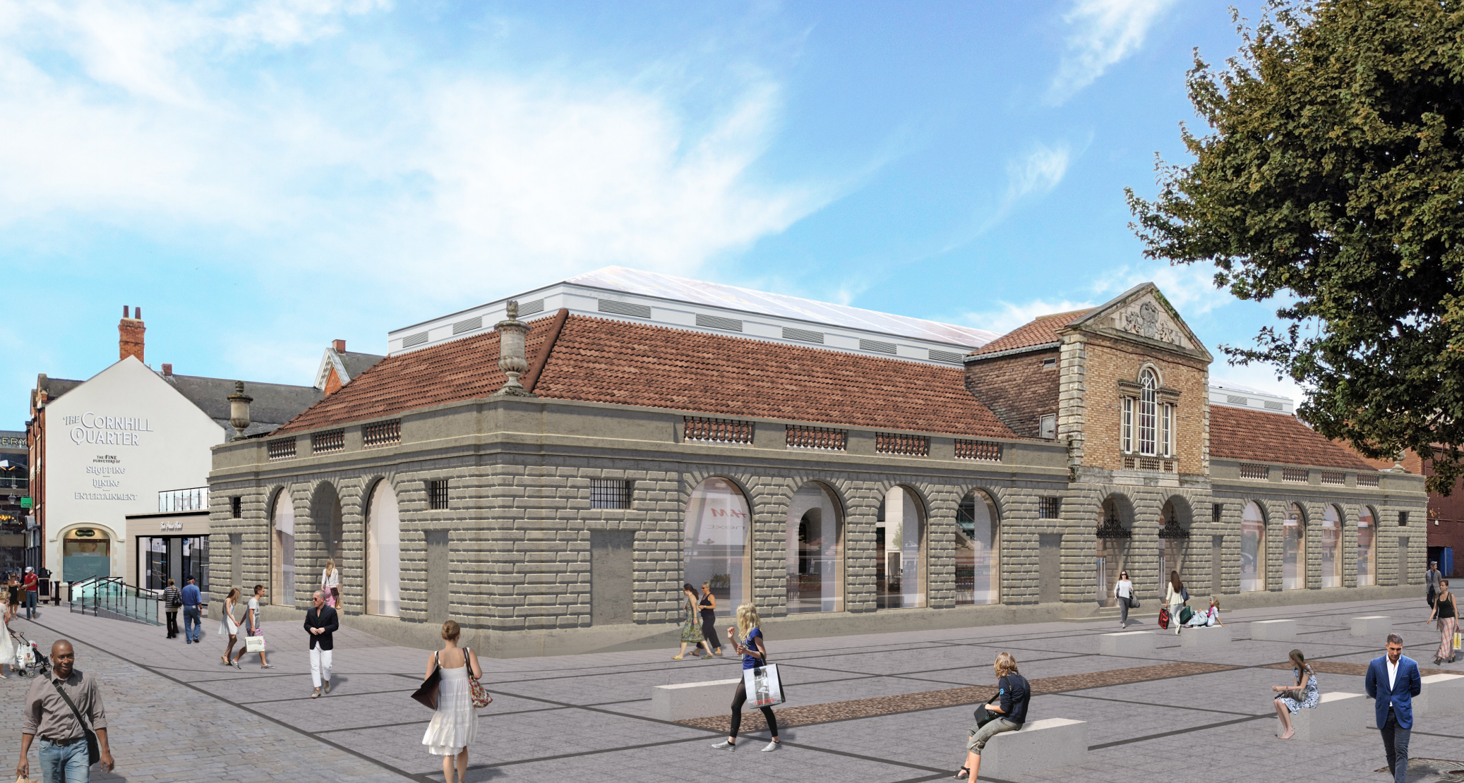 A CGI of what Lincoln Central Market could look like with windows replacing the stone arches.
