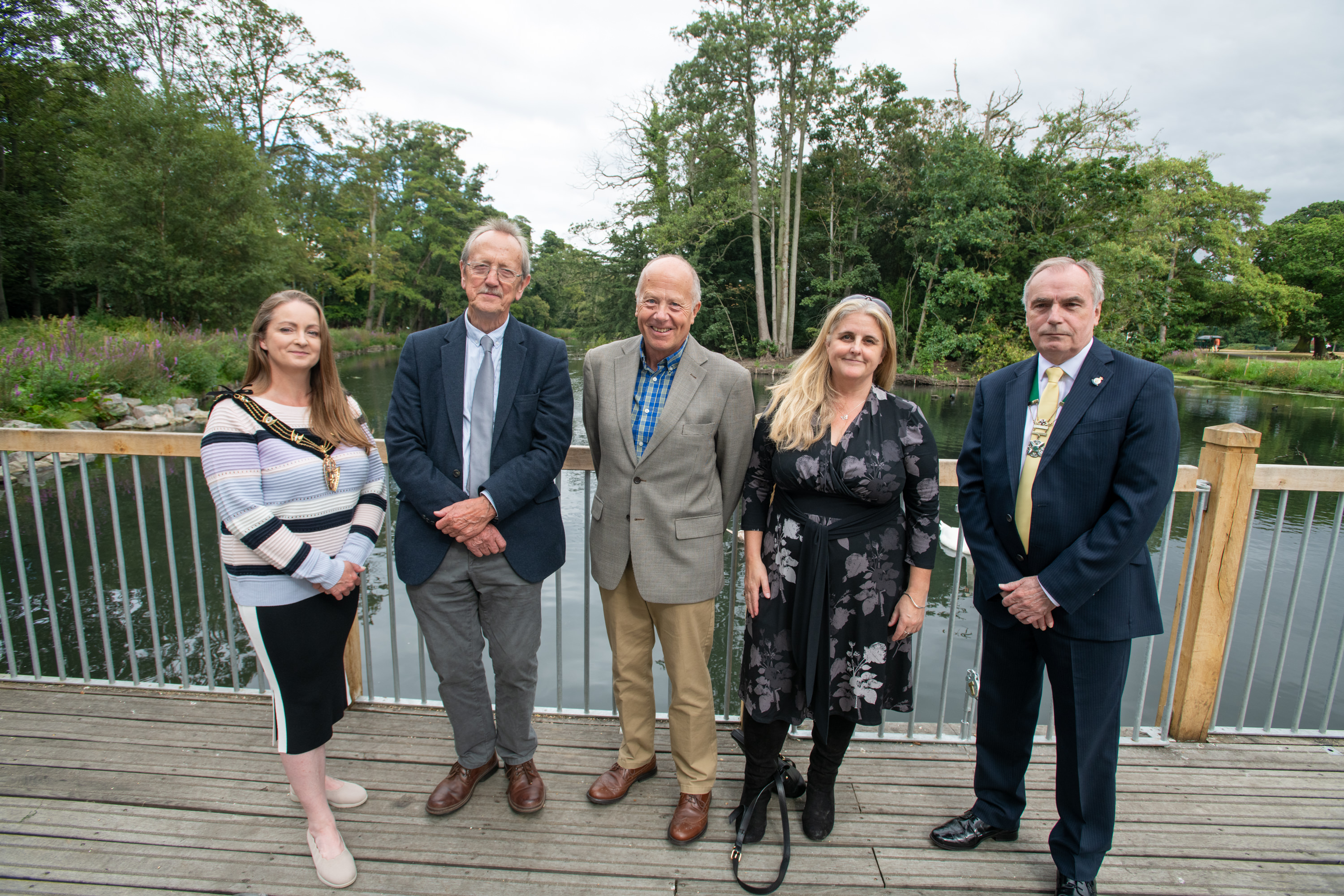 Members of City of Lincoln Council, the Mayor, Members from the Boultham Park Advisory Group and Members of the Lincolnshire Wildlife Trust at Boultham Park Lake