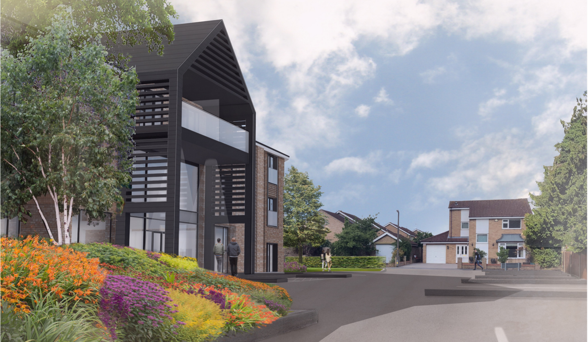 An artists impression of the development site which features a glass front to the property and modern architecture.